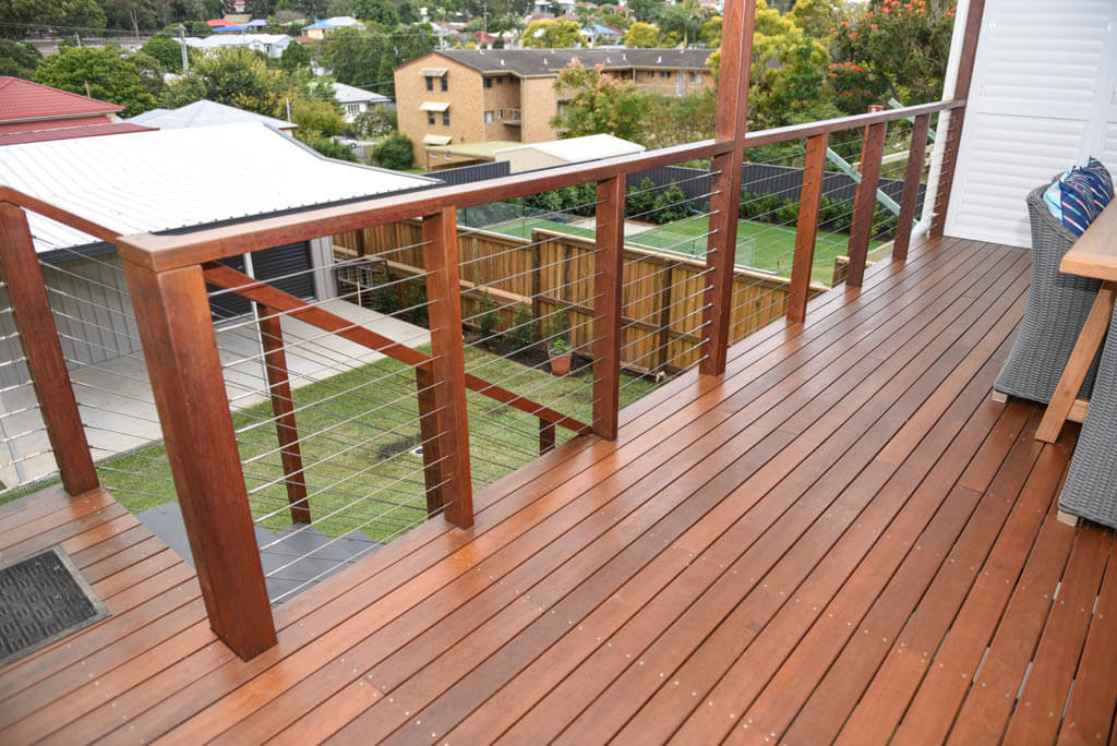 mewald building timber decking and wired railings